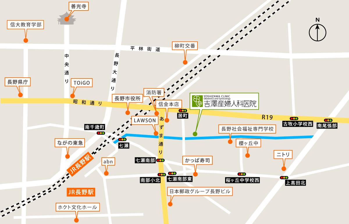 吉沢産婦人科までのアクセスマップ